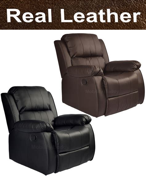 Madrid Real Leather Recliner Armchair Sofa Home Lounge Real Leather Recliner Sofas