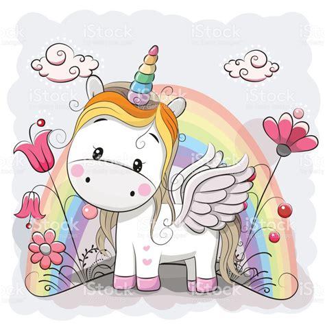 imagenes unicornios animados lindo unicornio de dibujos animados en el prado