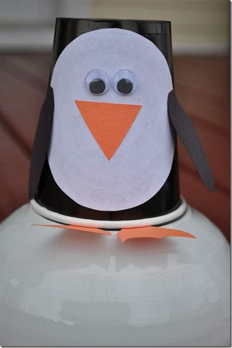 Paper Penguin Craft - paper cups penguins and penguin craft on