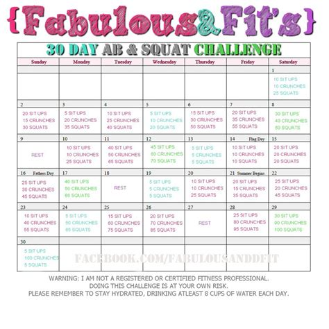 squat challenge and ab challenge fitness challenges 2 forever asleep
