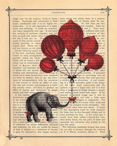 Vintage Etnik Cina Se 10 elephant balloons antique book page print 10 00 via