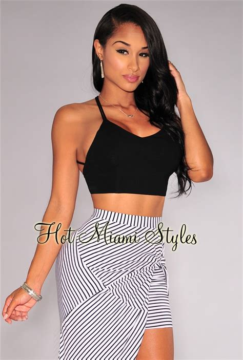 Strappy Halter Crop Top black strappy halter back crop top