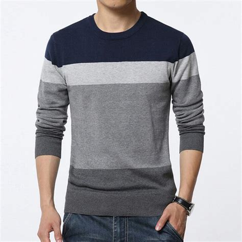 Sweater Rajut Pria Kasual 1 2017 new autumn fashion brand casual sweater o neck striped slim fit knitting mens sweaters and