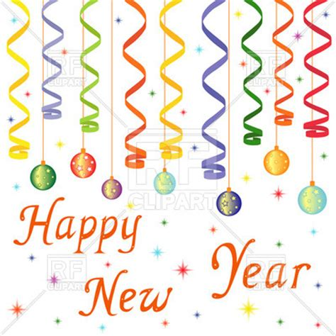 new year decorations clipart happy new year decoration balls on confetti