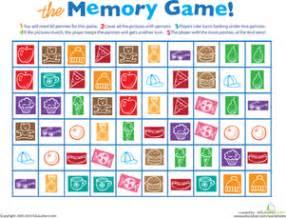 printable memory game | worksheet | education.com