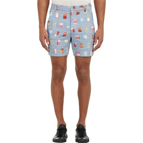 Patchwork Madras Shorts - band of outsiders chambray madras patchwork shorts in