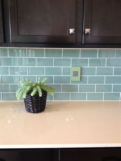 blue green glass subway tile backsplash kitchen