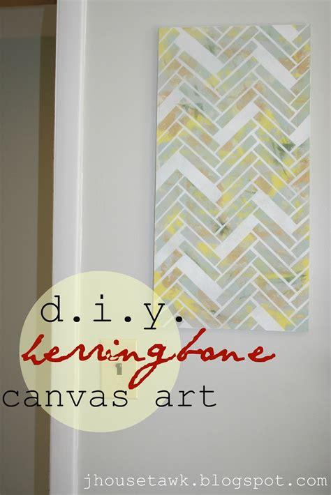 j house tawk diy herringbone canvas art