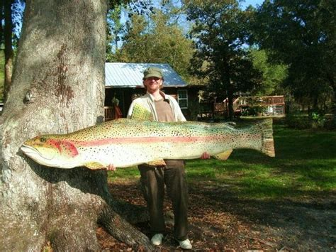 large rainbow trout chainsaw carving ft lake resort wall