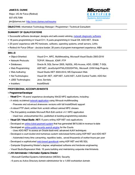 career objective information technology sle resume objectives for information technology