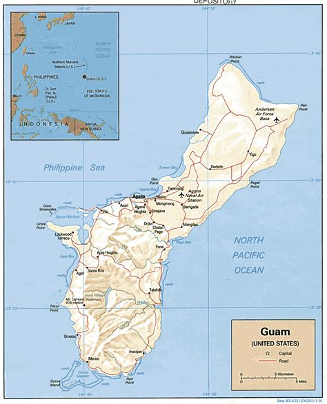 map of guam guam geography and maps