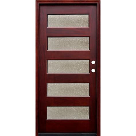 36 X 78 Exterior Door Pacific Entries 36 In X 80 In Contemporary 5 Lite Seedy Stained Mahogany Wood Prehung Front