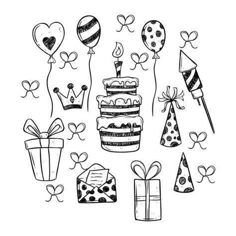 imagenes blanco y negro feliz cumpleaños conjunto de iconos de fiesta de cumplea 241 os blanco y negro
