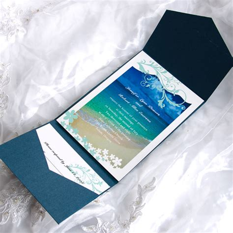 Gift Card Cheap - blue beach cards with cheap blue pockets wedding invitation kits ewpi002 as low as 1 69