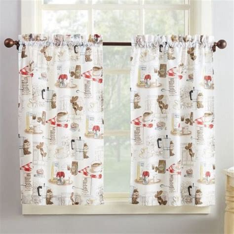 coffee curtains 8 adorable coffee themed kitchen curtains under 40 00