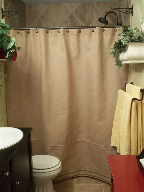 Burlap Shower Curtains Burlap Shower Curtain Black Stripe Trim By Simplyfrenchmarket