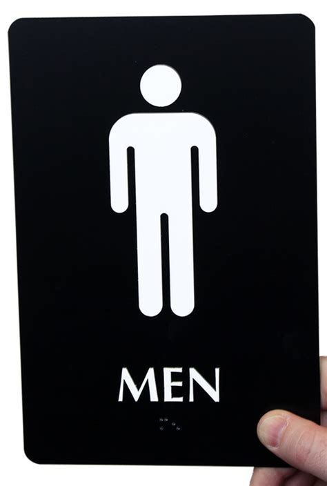 bathroom men sign 9in x 6in men bathroom braille sign sku se 1773 color