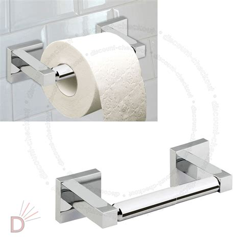 Bathroom Heaven Toilet Roll Holders Wall Mounted Square Shine Chrome Finish Bathroom Bar