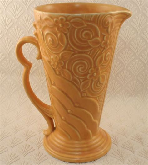 Wade Pottery Vases by Vintage Wade Pottery Deco Relief Jug Vase 9 Inches In Pottery Porcelain