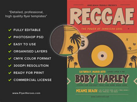 template flyer reggae retro reggae music party flyer template flyerheroes