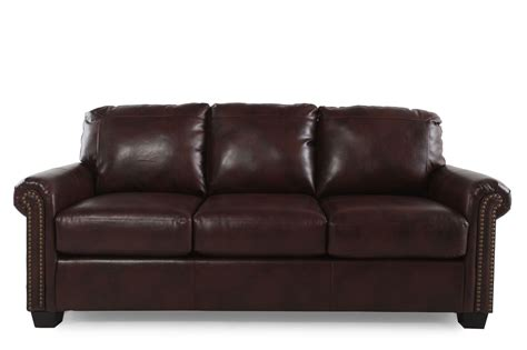 rolled arm contemporary  queen sleeper sofa  chocolate mathis brothers furniture