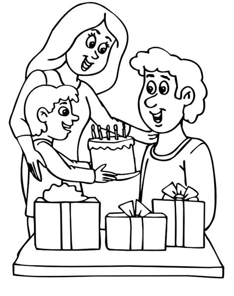 Coloring Pages Of Birthday Cakes Big Birthday Cake With Birthday Boy Coloring Pages