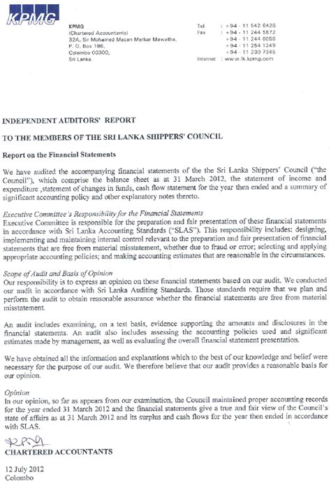 Service Letter Format Sri Lanka Annual Report Accounts 2011 2012 Sri Lanka Shipper S
