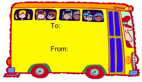 printable bus tags kindergarten bus printable gift tag