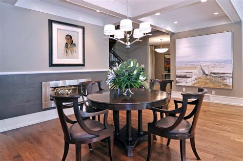 two tone dining room paint dining room transitional dining room calgary by bruce johnson associates interior design