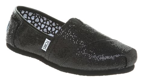 flat black sparkly shoes womens toms glitter espadrille black glitter flats shoes