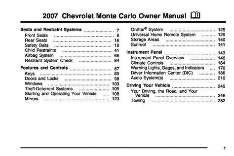 2007 Chevrolet Monte Carlo Owners Manual Just Give Me