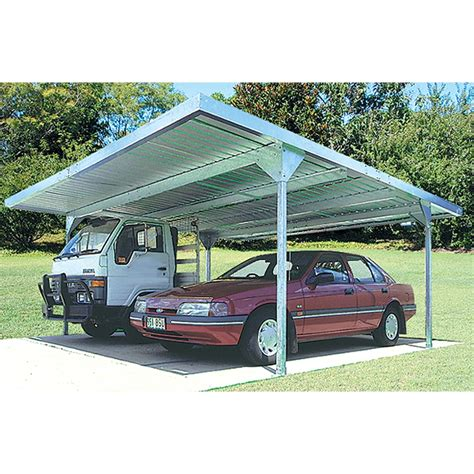 Bunnings Carport absco sheds 5 5 x 2 25 x 5 5m zincalume skillion roof carport
