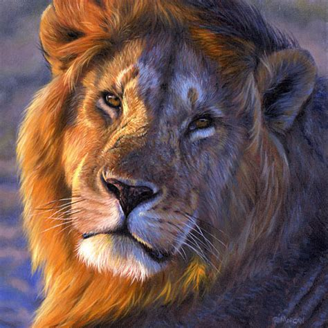 lion print lion painting wildlife art