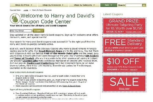 coupon for harry and david in store