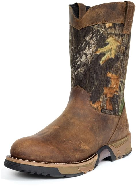 mens camo boots rocky mens brown leather aztec waterproof camo pull on