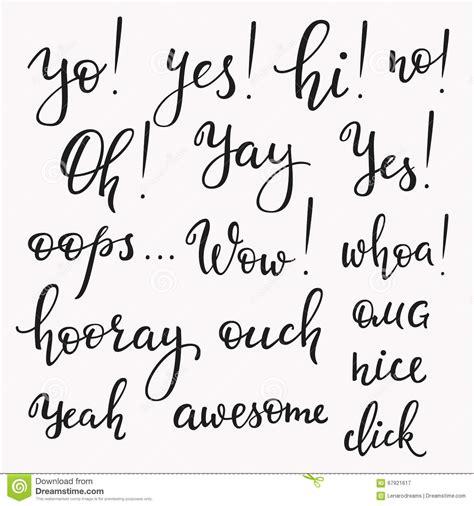 Font Letter Sle Sentences Exclamation Words Set Stock Illustration Image Of Card