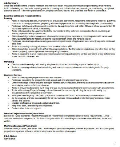 office intern description office intern description sle 8 exles in word