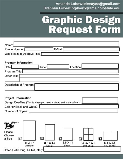 graphic design forms job order form graphic design