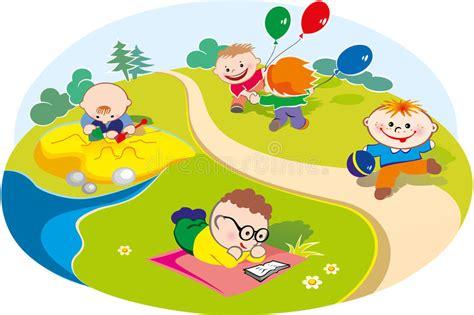 clipart bambini giocano bambini giocano nel prato illustrazione vettoriale