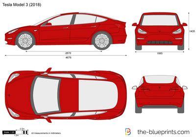 tesla model 3 vector drawing