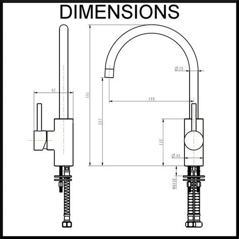 Kitchen Mixer Dimensions Luca Kitchen Tap Neck Matte Black Renovatorstore