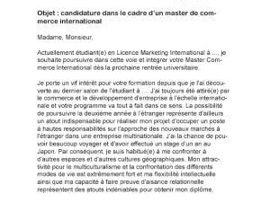 Lettre De Motivation Stage Commerce International Lettre De Motivation Master Commerce International Par