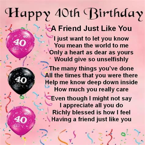 Happy 40th Birthday Quotes Personalised Coaster Friend Poem Female 40th