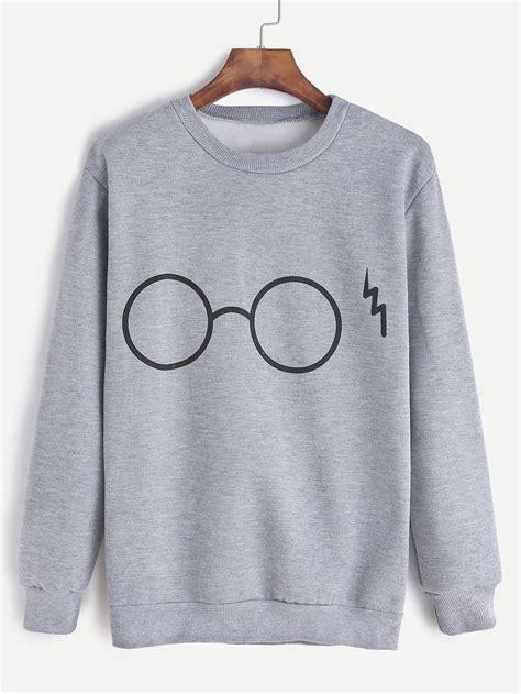 Print Sweatshirt glasses print sweatshirt shein sheinside