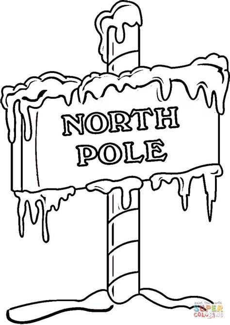 north pole sign coloring page free printable coloring pages