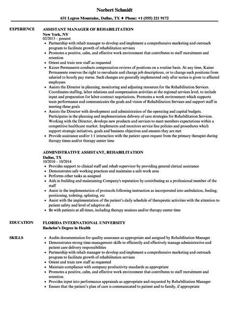 Rehabilitation Resume by Rehabilitation Assistant Resume Sles Velvet