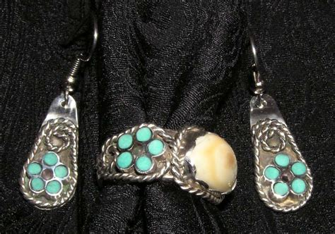 Custom Jewelry, Silver Ring with Elk Ivory, Turquoise and Amethyst, by John P. Finley