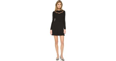 valentino sweater dress with pleated skirt in black lyst
