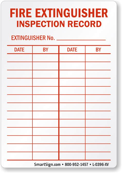 extinguisher inspection tag template laminated vinyl extinguisher inspection record label