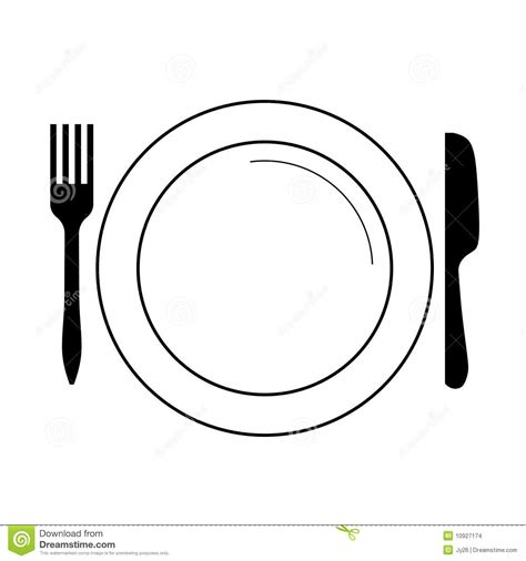 Plate With Fork, Knife (vector) Stock Images   Image: 10927174